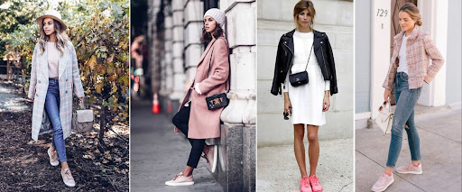 Một số kiểu phối áo khoác và giày hồng khác